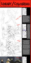 Lineart and colouring tutorial by moni158