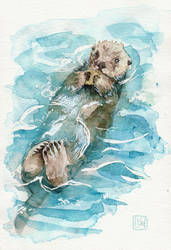 sea otter by Lisk-Art