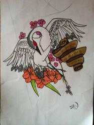 Crane tattoo by Chaosella