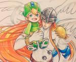 Inktober 26 - Angemon and Takeru by C-Yen