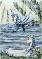 Playing in the water - Dragon and unicorn by ElenaZambelli