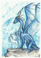 Friends chatting - dragon and unicorn by ElenaZambelli