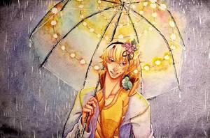Rainy night, Fairy lights! by CherryBlossomInk