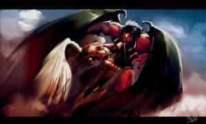 Sanguinus vs Bloodthirster by morganagod