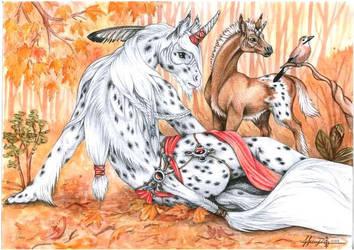 appalooso mare with her foal by DrunkenUnicorn