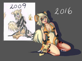 Growlithe Girl Then and Now by vikhop