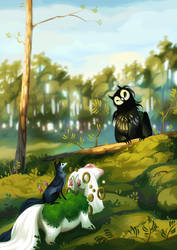 Meeting in the Pine Forest by golden-marrow