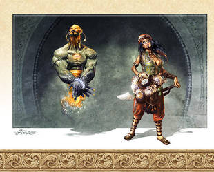 Djinn and Headhunter by TamasGaspar