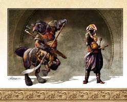 Bearataur and Thief by TamasGaspar