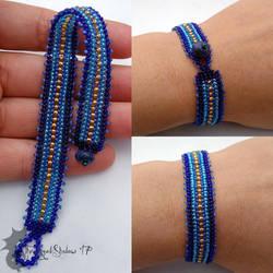 Blue and Gold Flat Herringbone Bracelet by TheWingedShadow
