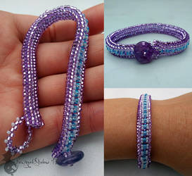 Lilac Heringbone Bracelet by TheWingedShadow