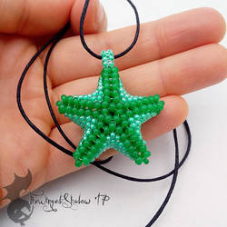 Green Starfish Pendant by TheWingedShadow