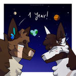 We've been cute space nerds for a year now! by CinnamoniRolli