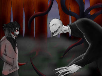 Slenderman vs Jeff by guzilu119