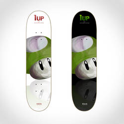 Skateboard graphic: 1up shroom by Derryo