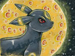 Umbreon Mixed Medium print by MiakaLin