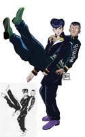 Josuke and Okuyasu re-draw by Tanbi-no-Kami