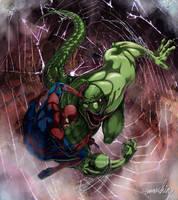 Spider-man Vs. Lizard by emmshin