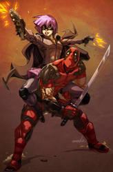 Hit-Girl x Deadpool by emmshin