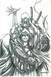 Deadpool and Mistress Death (pencils) by emmshin