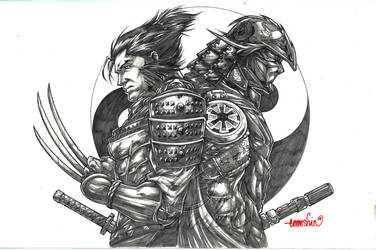 Samurai Wolverine x Darth Vader by emmshin