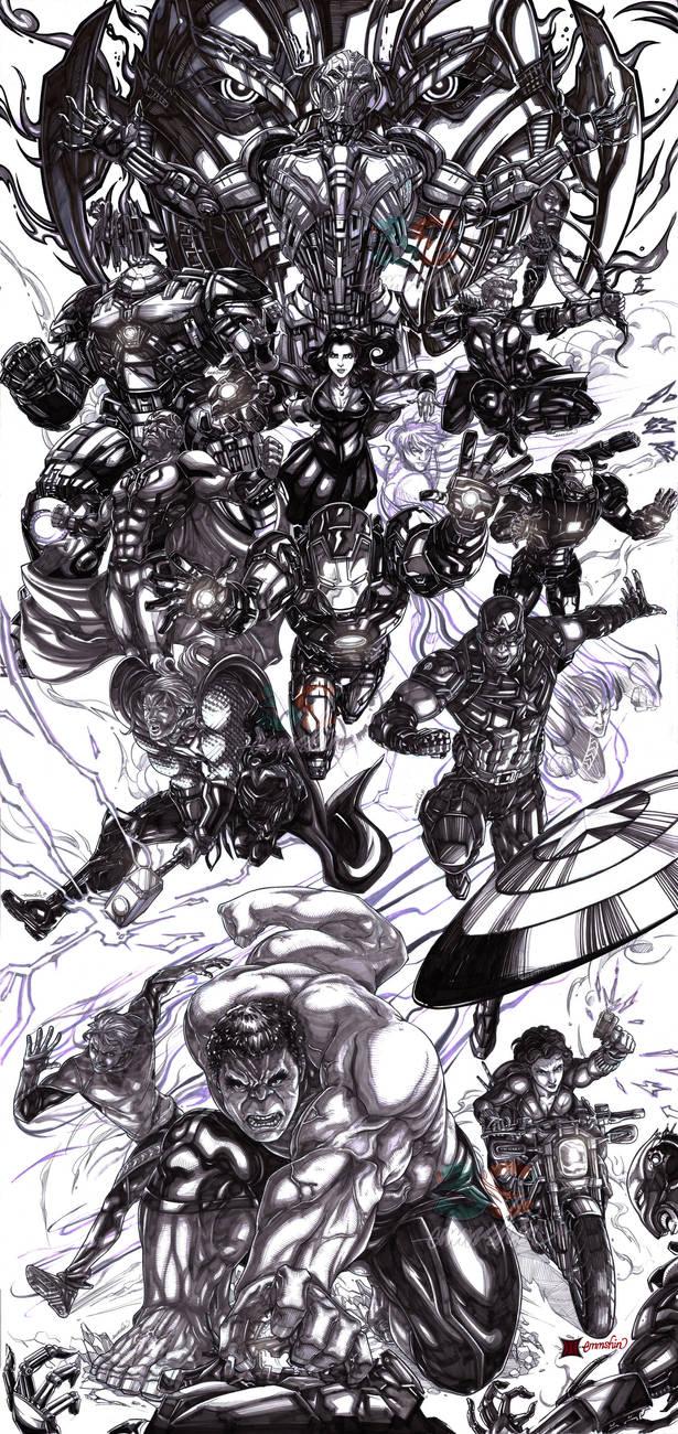 Avengers Age of Ultron (lineart) by emmshin