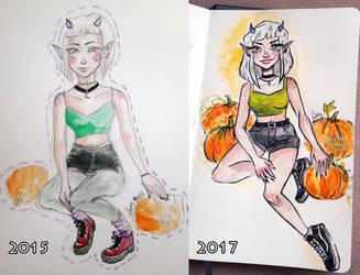 Draw this again meme #2/ Pumpkins by Willowie