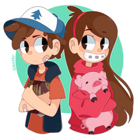 Dipper and Mabel by GhostyCalico