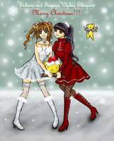 Sakura, Tomoyo and Kero-chan Christmas by Wishluv by NewTrials