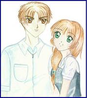 Smiling Sakura and Syaoran, by Wishluv (2000) by NewTrials