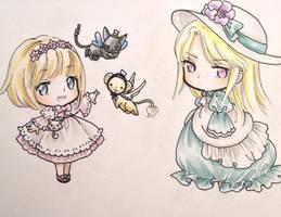 Chibi Miho and Kara by Shiyaehan by NewTrials