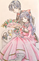 Eriol and Tomoyo with Flowers by Shiyaechan by NewTrials