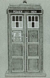 Black and White Tardis from Doctor Who by sarahwilkinson