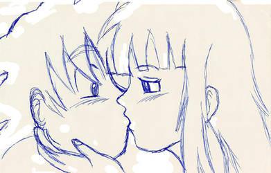 :sketch: Goku and Chichi kiss by dbzfannie