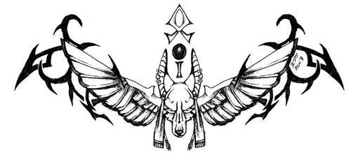 Winged Anubis Tattoo by cheshiresphynx