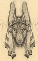 Anubis Portrait Sketch by cheshiresphynx