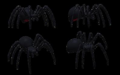 Black Widow Spider Set 01 by Free-Stock-By-Wayne