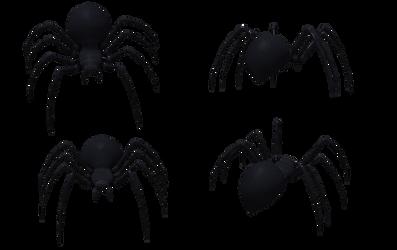 Black Widow Spider Set 02 by Free-Stock-By-Wayne