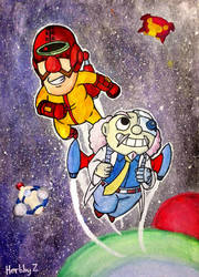 Two mad scientists in space by HerbbyZ