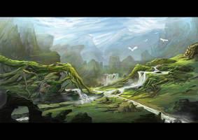 Fantasy landscape by nicholasgwee