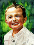 Child portrait - watercolor by Tyfflie