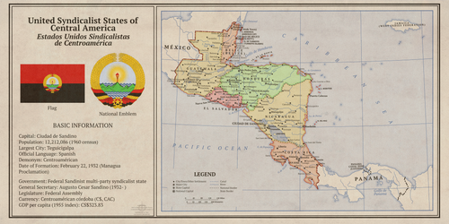 1960 Kaiserreich Syndicalist Central America Map by Vexillographist
