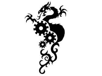 Dragon and cog Tattoo by GrimsbySP