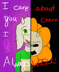 I care about you Chara I always will! (Redraw) by ZarinaRoseYT