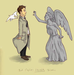 Castiel Vs. Weeping Angels by irezel