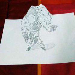 Goku vs. Nappa 3d art by SylentEcho88