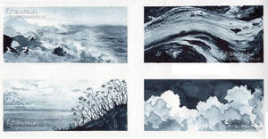 Watercolour Studies in Greyscale by brightling