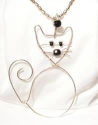 Silver Cat Pendant by kufka