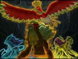 Ho-oh and the Trio Beast by Eclipse4d