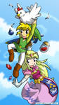 Zelda and Link watch for chickens by desfunk